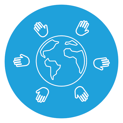 Globe with Hands around it icon