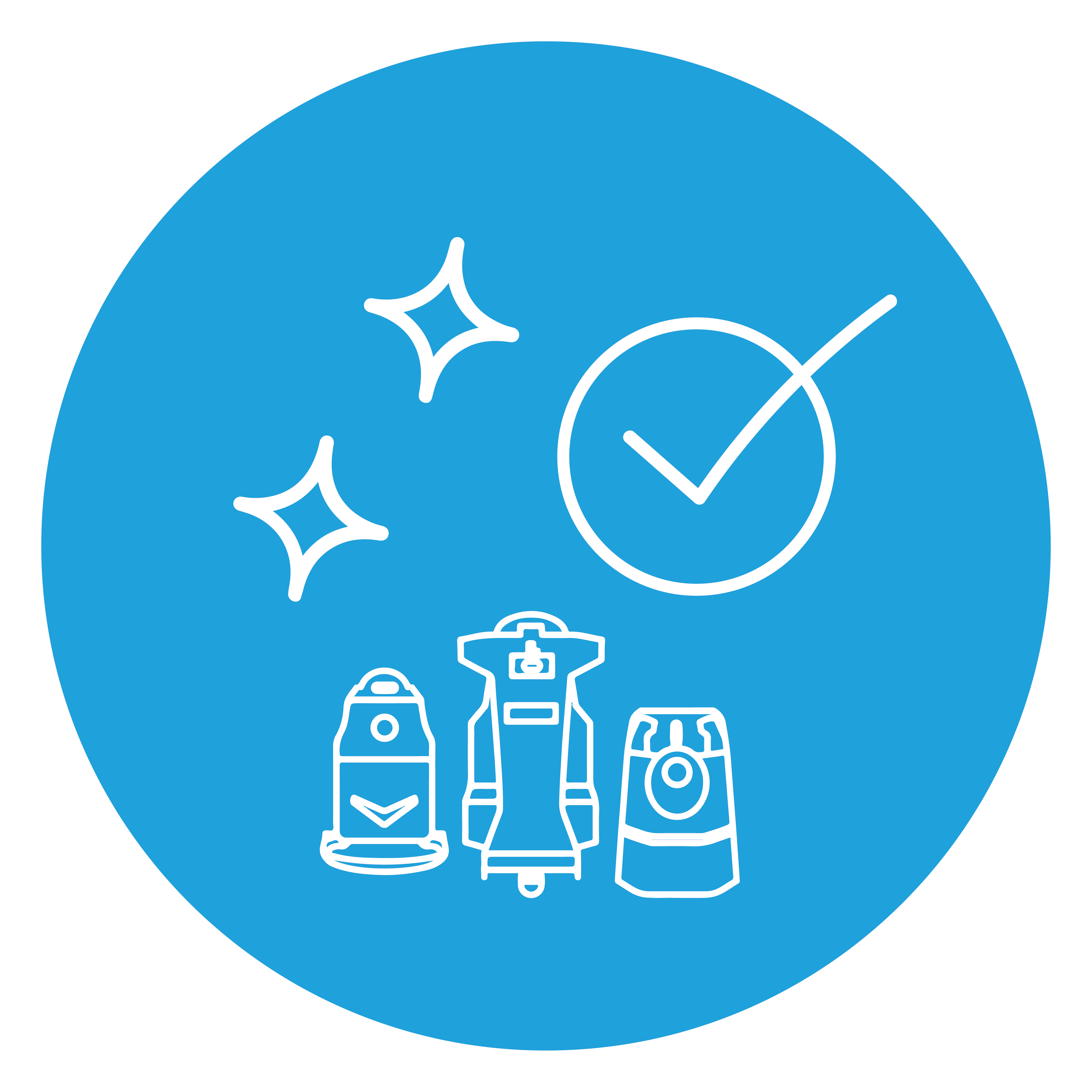 Cleaning machines with clean sparkles icon
