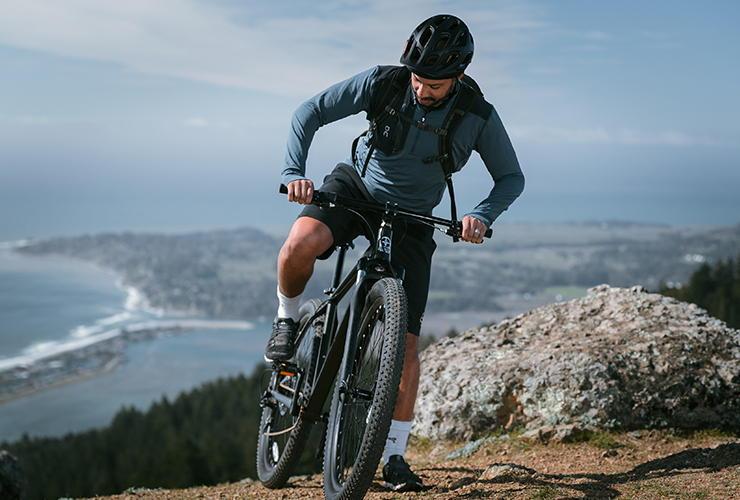 Man biking in the desert mountains