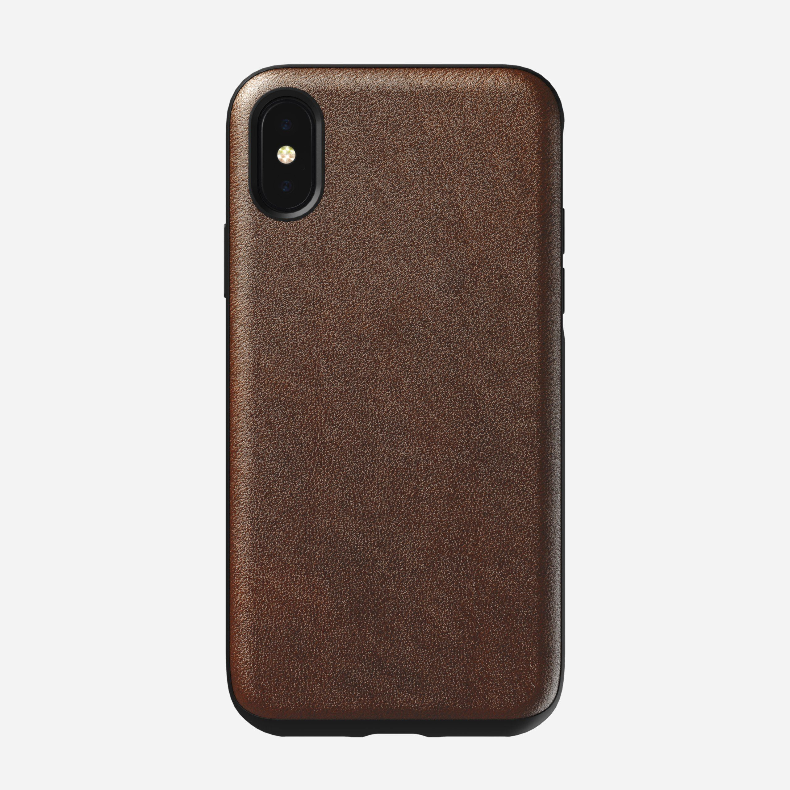 Rugged Leather Case for iPhone Xs, Brown
