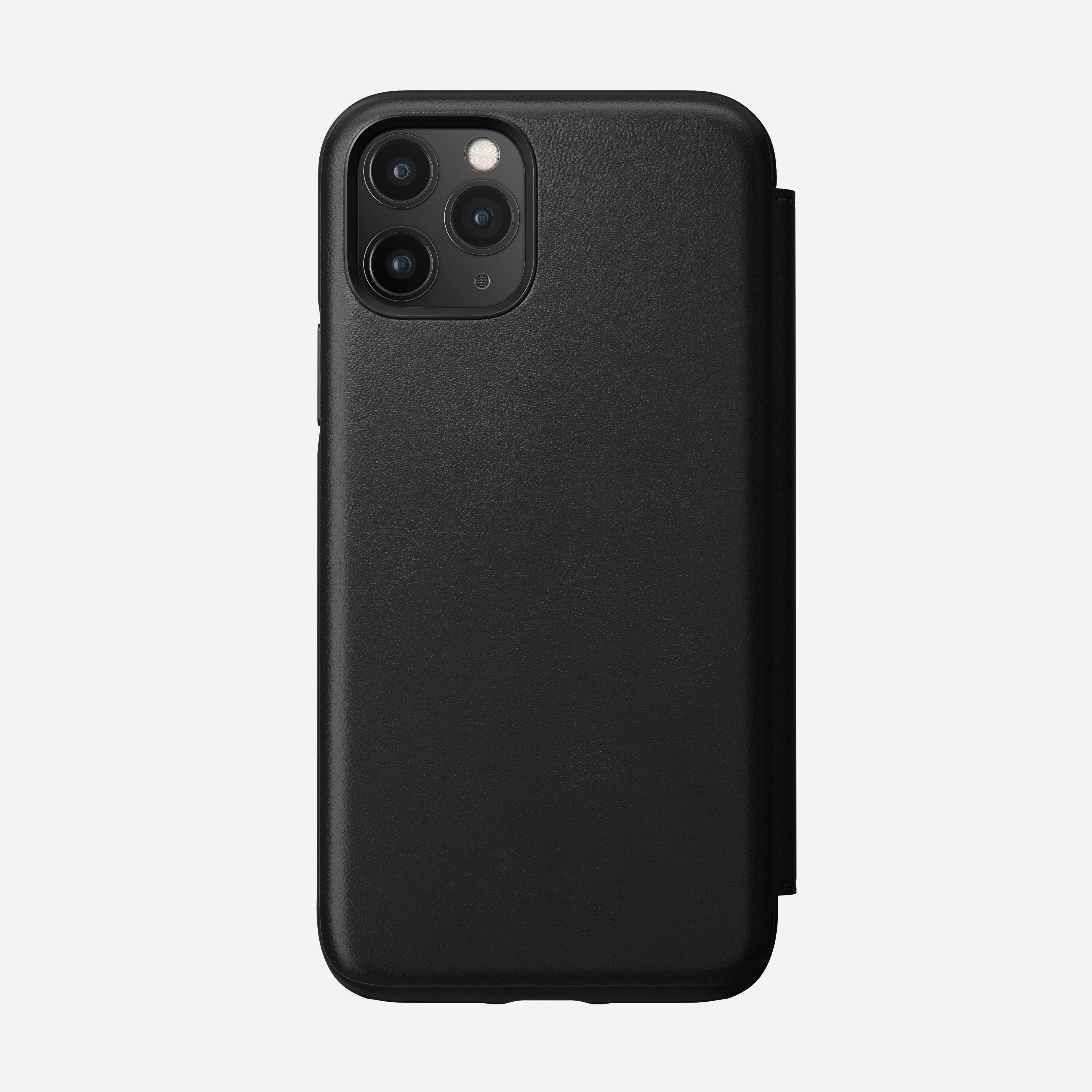 Rugged Leather Tri-Folio Case for iPhone 11 Pro, Black
