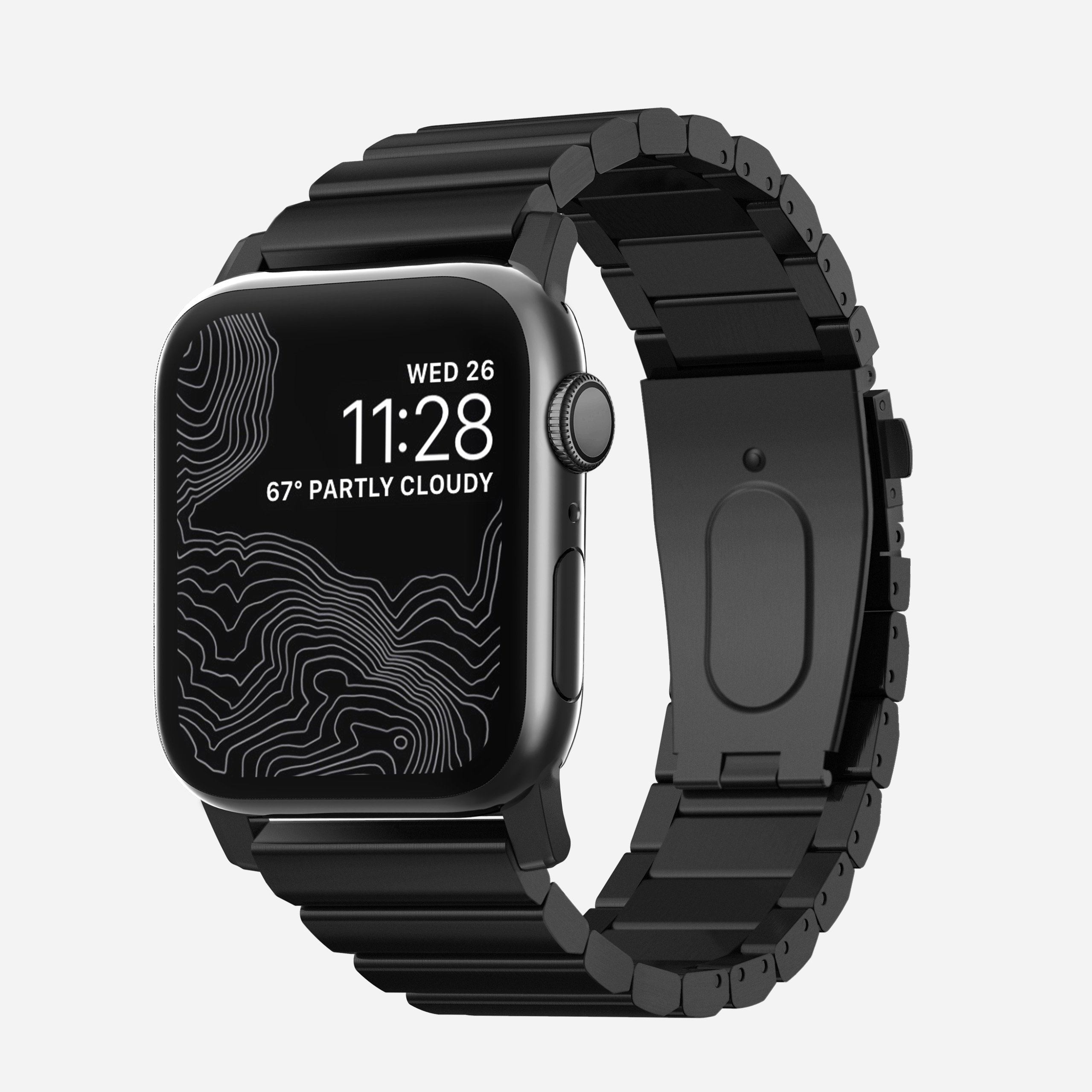 Apple Watch Stainless Steel Band, Black Hardware