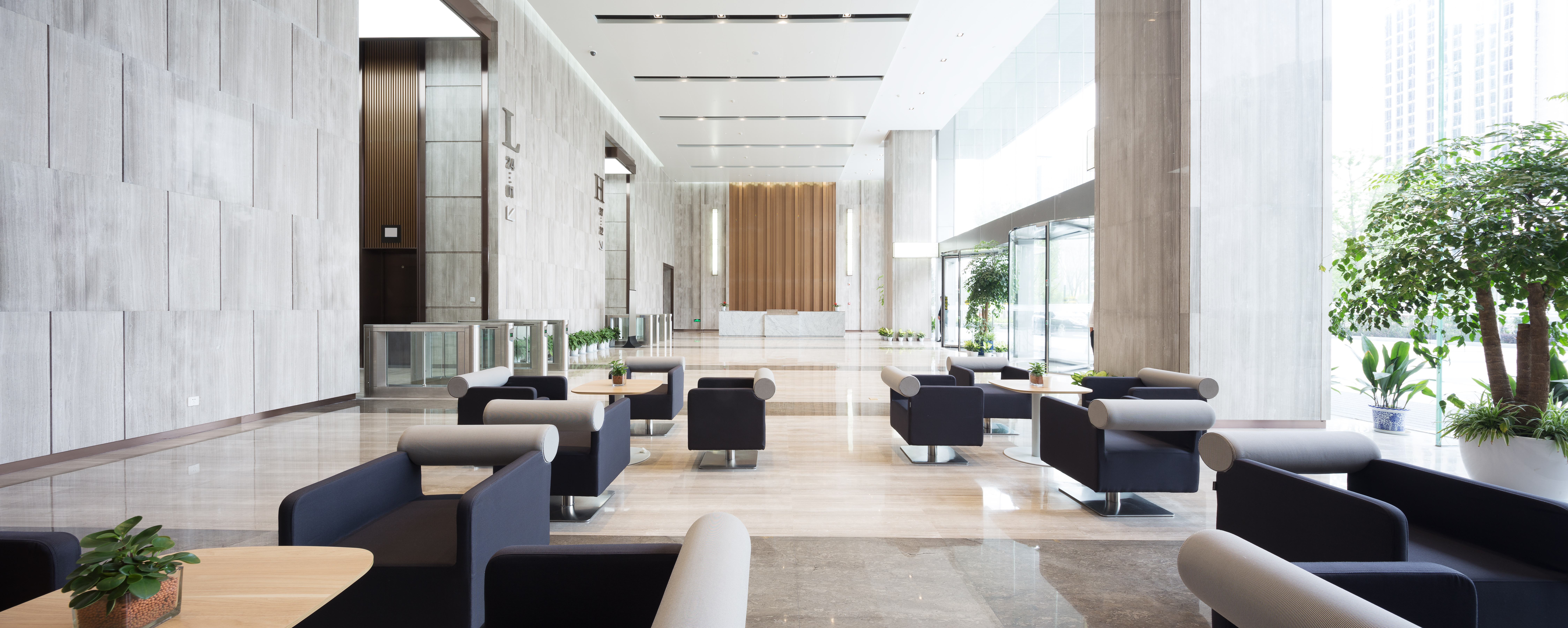 Clean and modern lobby of an office building
