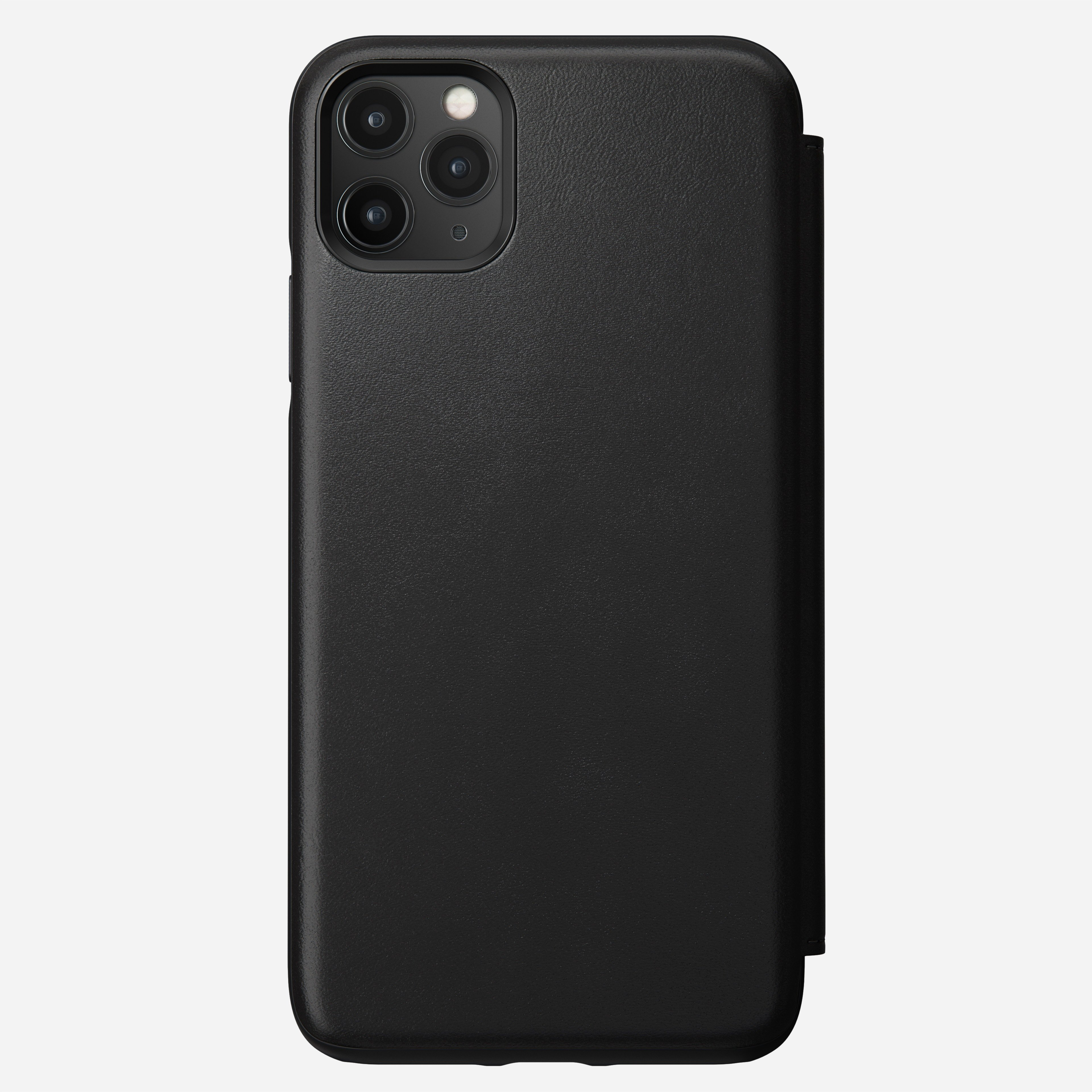 Rugged Leather Tri-Folio Case for iPhone 11 Pro Max, Black