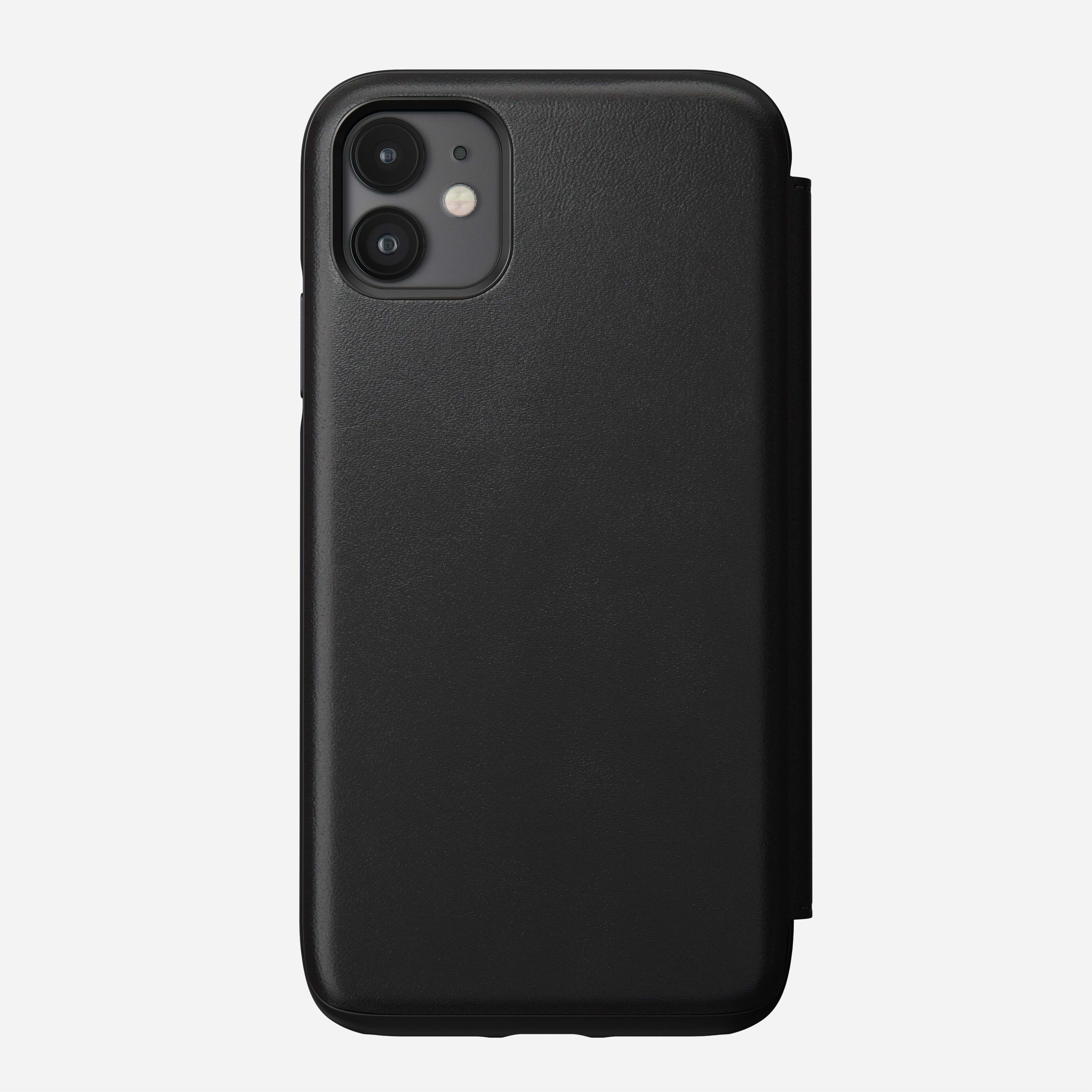 Rugged Leather Tri-Folio Case for iPhone 11, Black