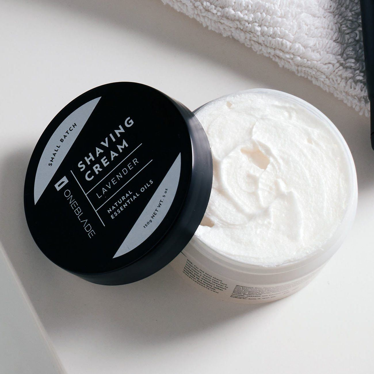OneBlade Black Tie Shaving Cream with lid off