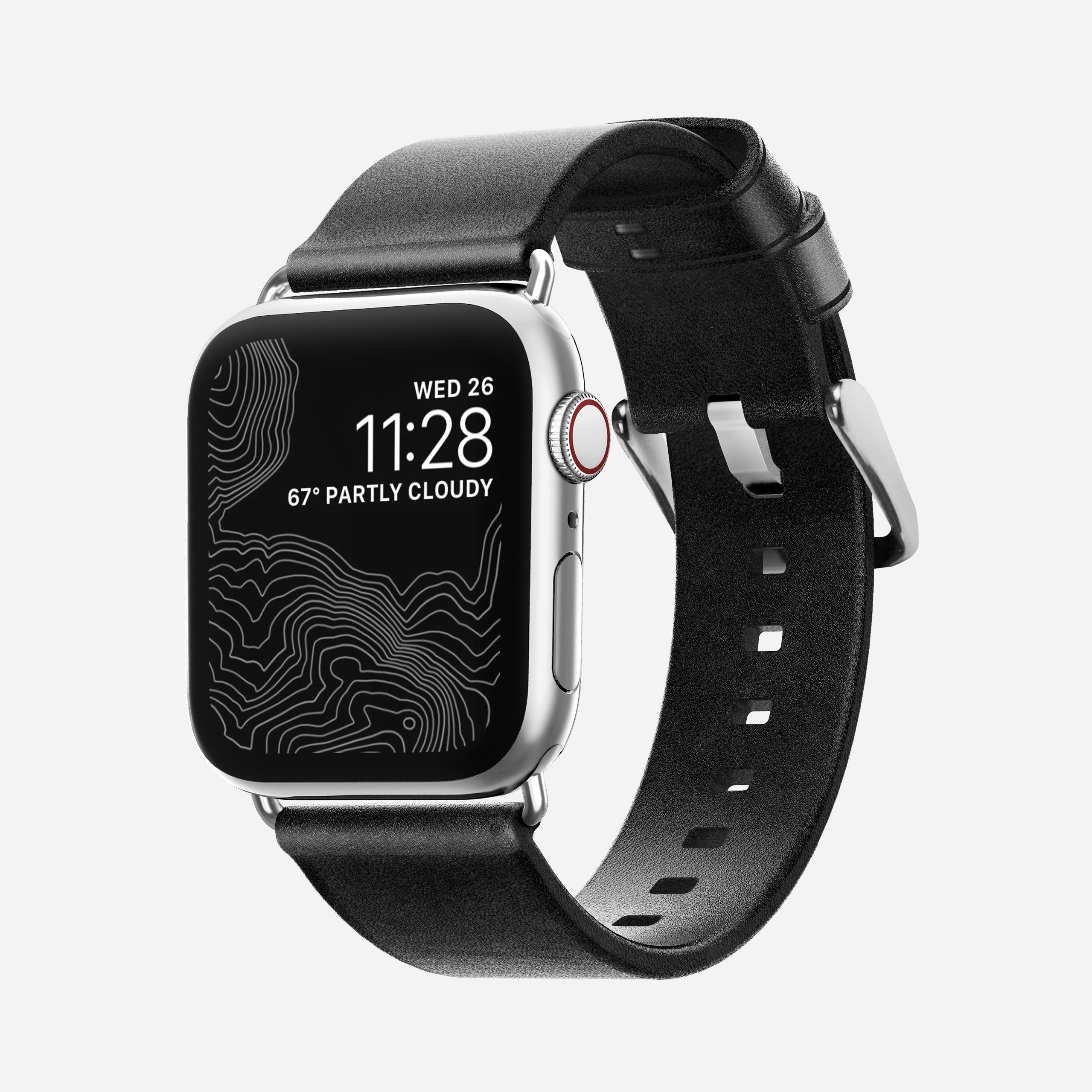 Apple Watch Black Leather Band, Slim + Silver Hardware