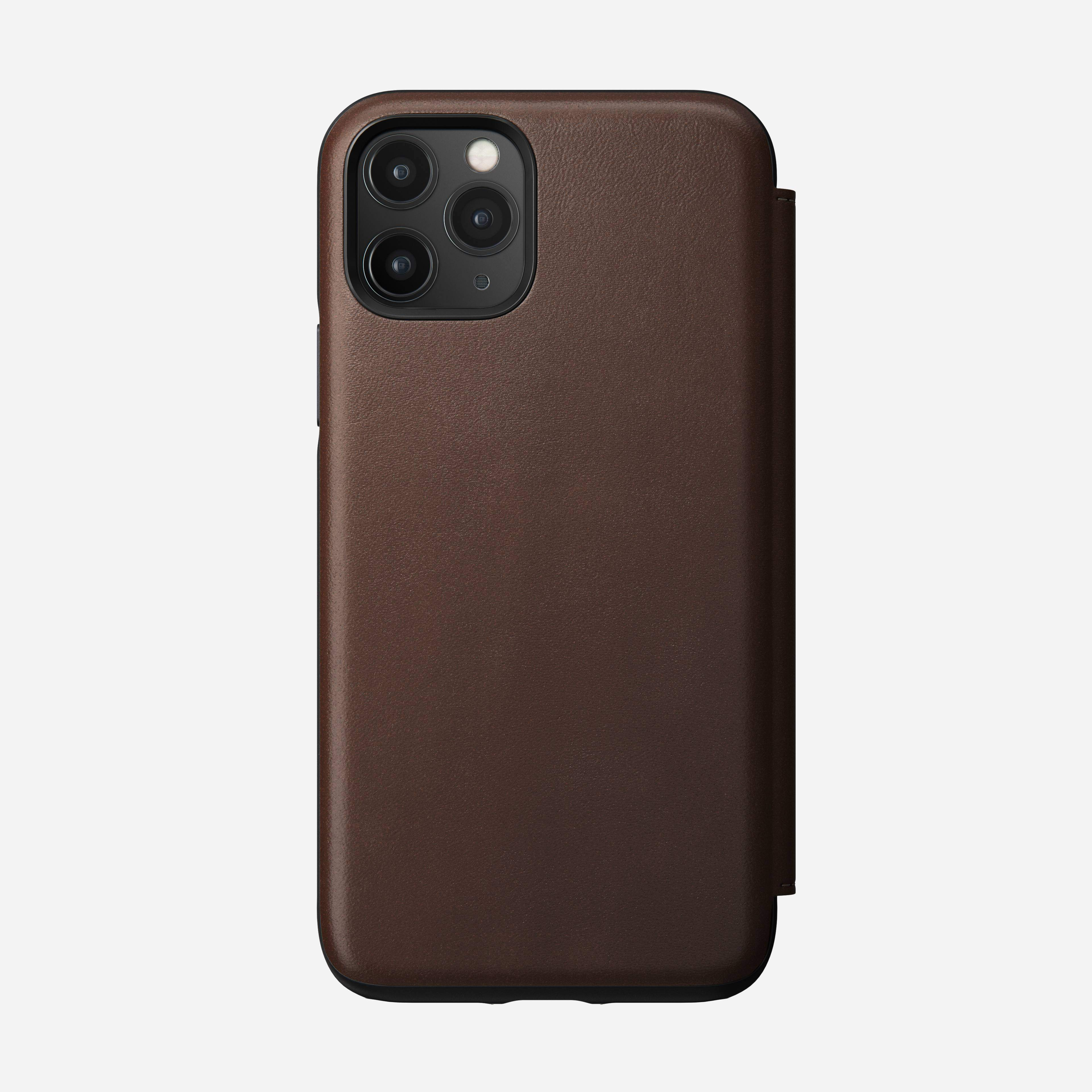 Rugged Leather Tri-Folio Case for iPhone 11 Pro, Brown