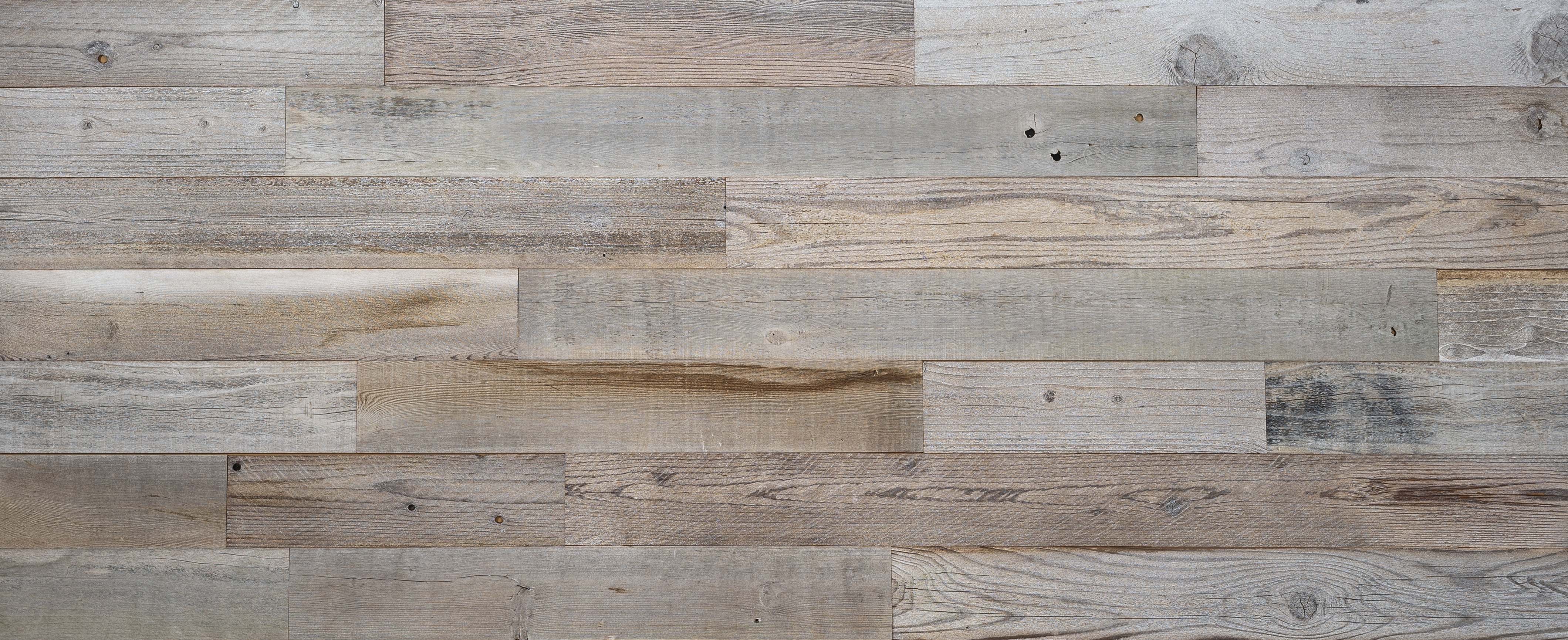 Stikwood Reclaimed Silvermyst material explorer | real reclaimed barnwood redwood peel and stick wood wall and ceiling planks with light, white, gold, gray, tan, black and brown colors.