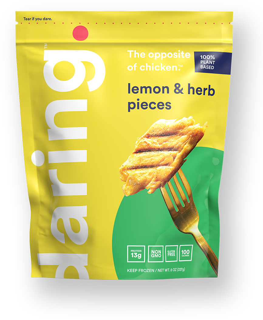 Daring Foods Lemon & Herb Plant Based Chicken Pieces front of package