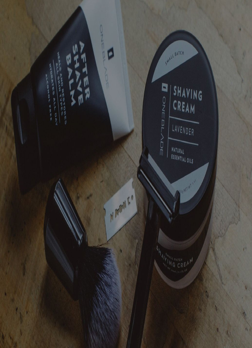 "Oneblade ""Black Tie"" Shaving kit items, including a razor, blade, brush, ""After Shave Balm"", and"