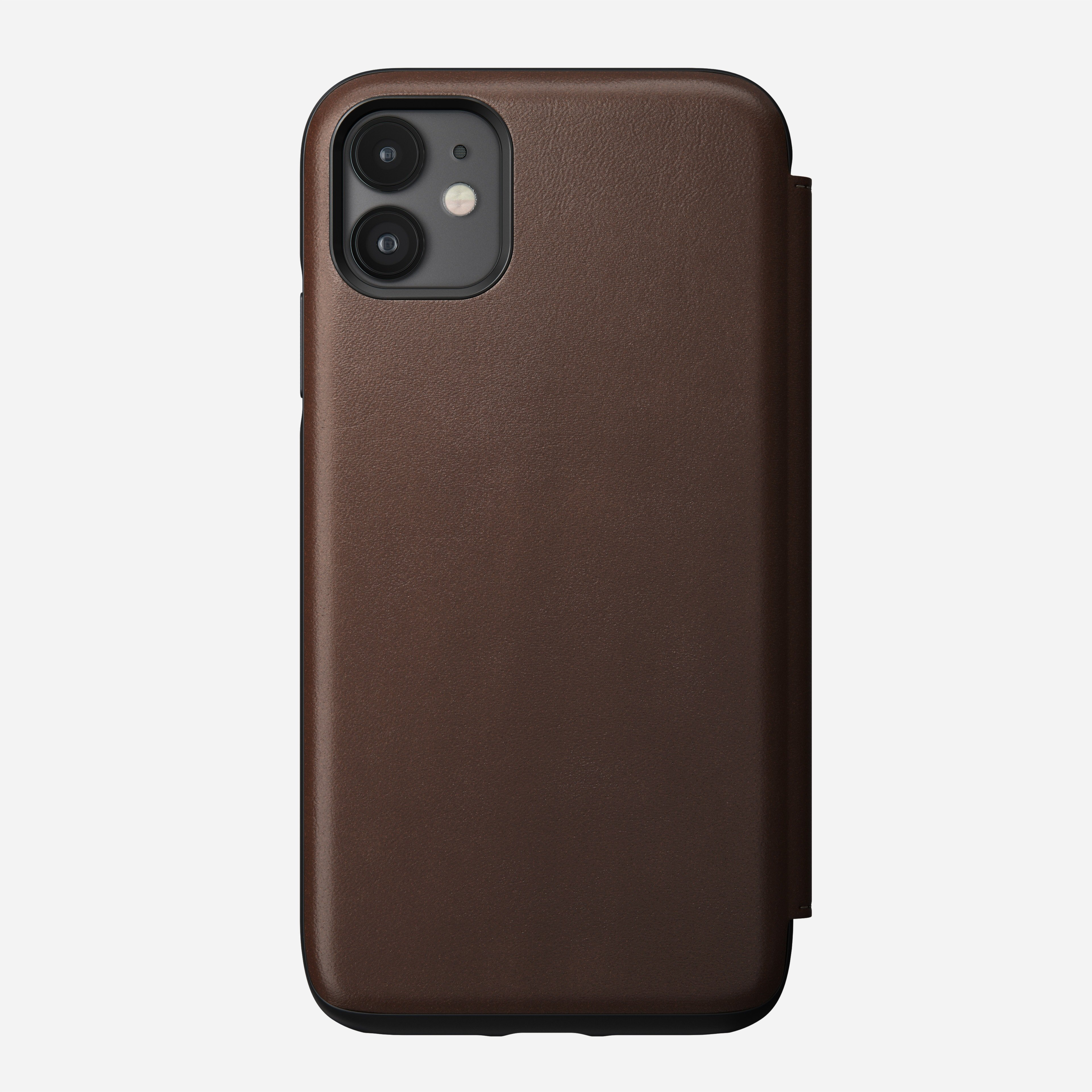 Rugged Leather Folio Case for iPhone 11, Brown