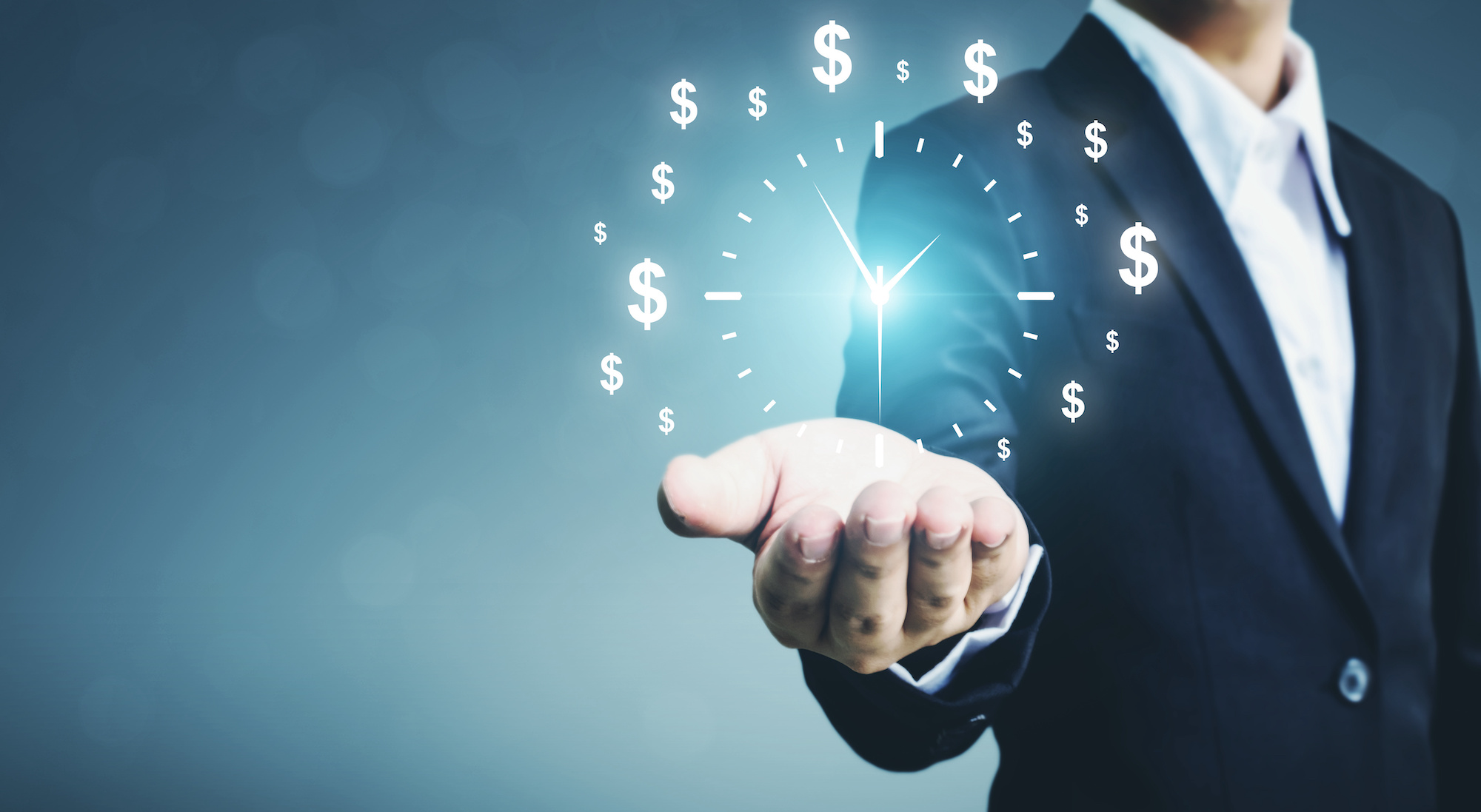 Man holding up glowing money and clock image