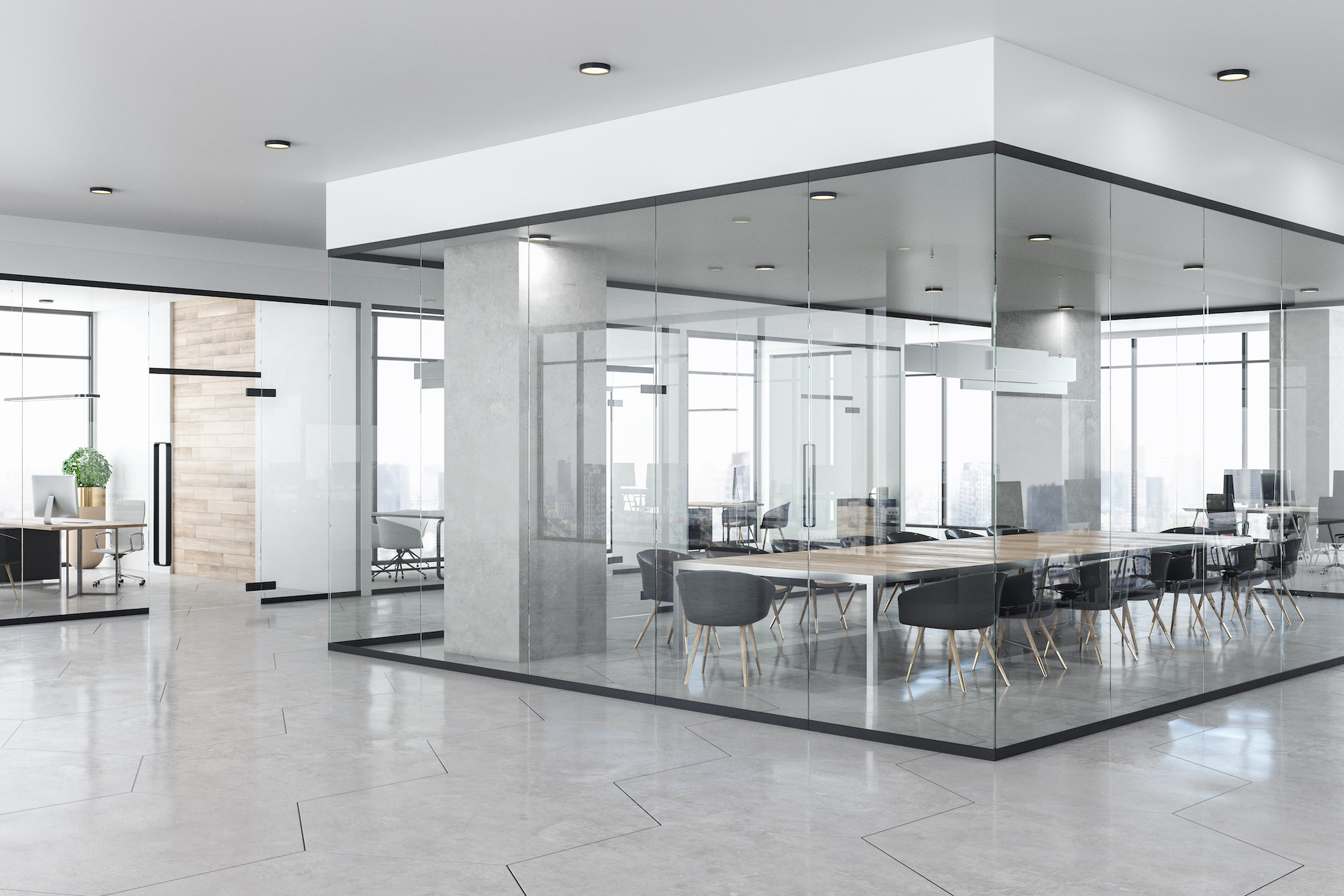 Clean and modern looking office space
