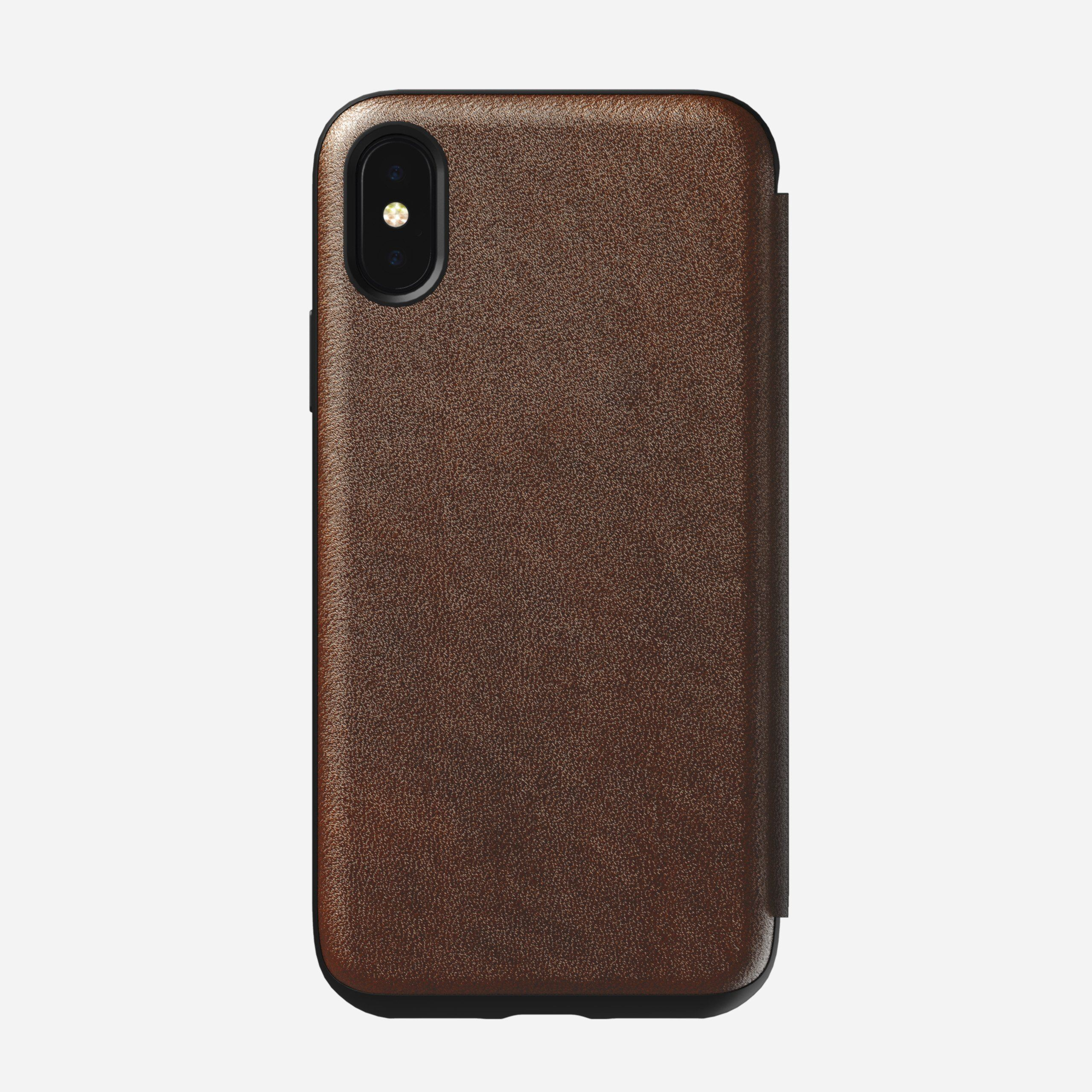 Rugged Leather Folio Case for iPhone Xs, Brown