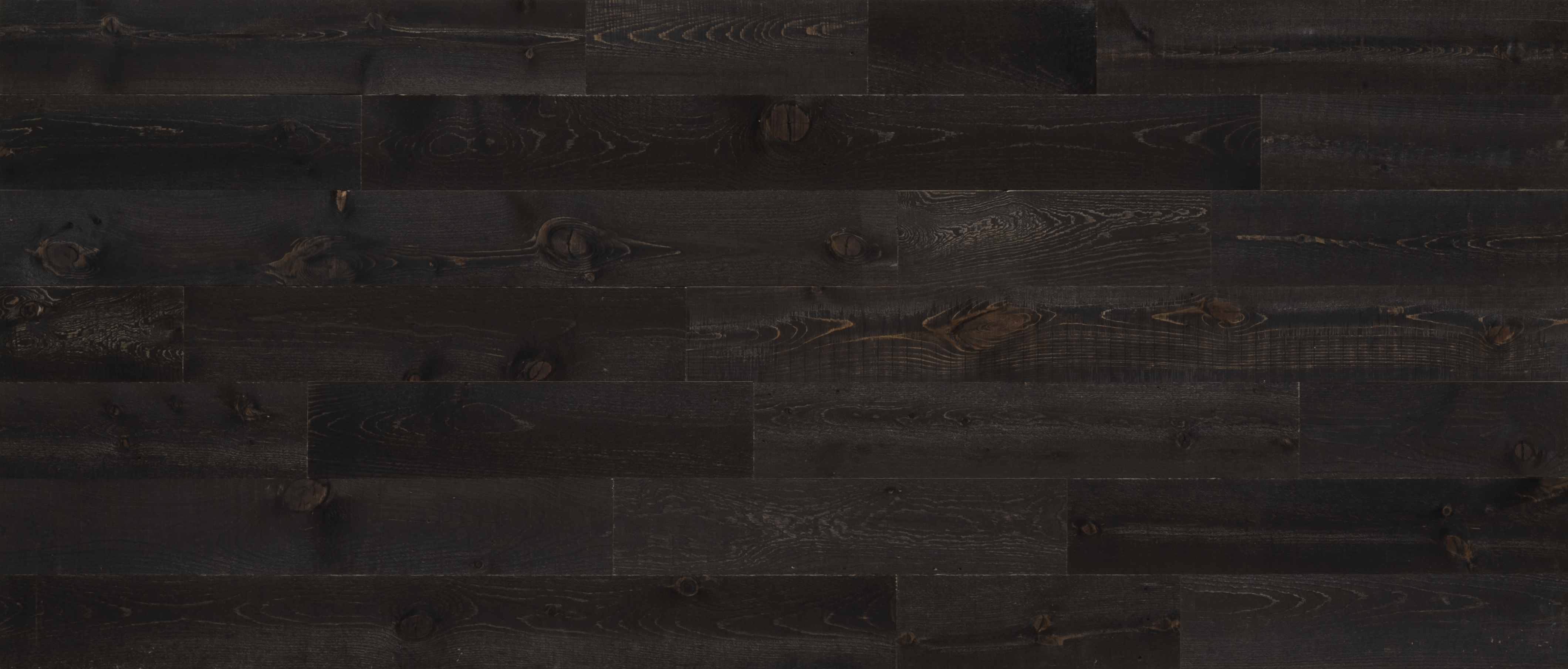 Stikwood Reclaimed Onyx material explorer | real reclaimed barnwood pine peel and stick wood wall and ceiling planks with dark, black, ebony, and brown colors.