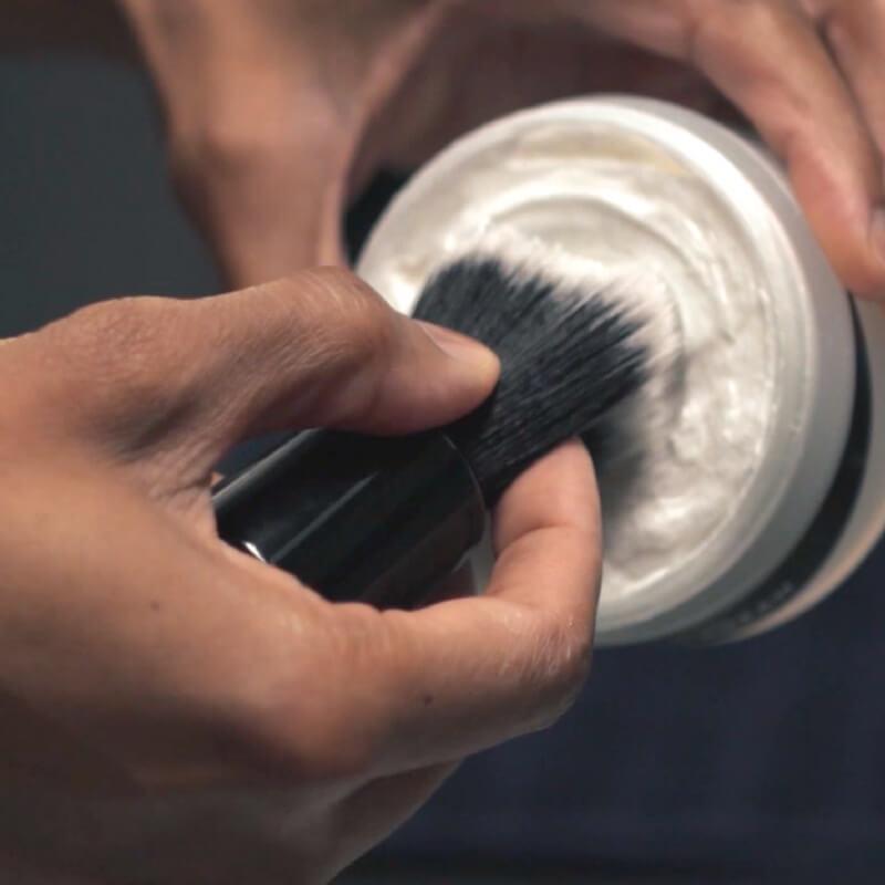 OneBlade shave brush lathering with shaving cream