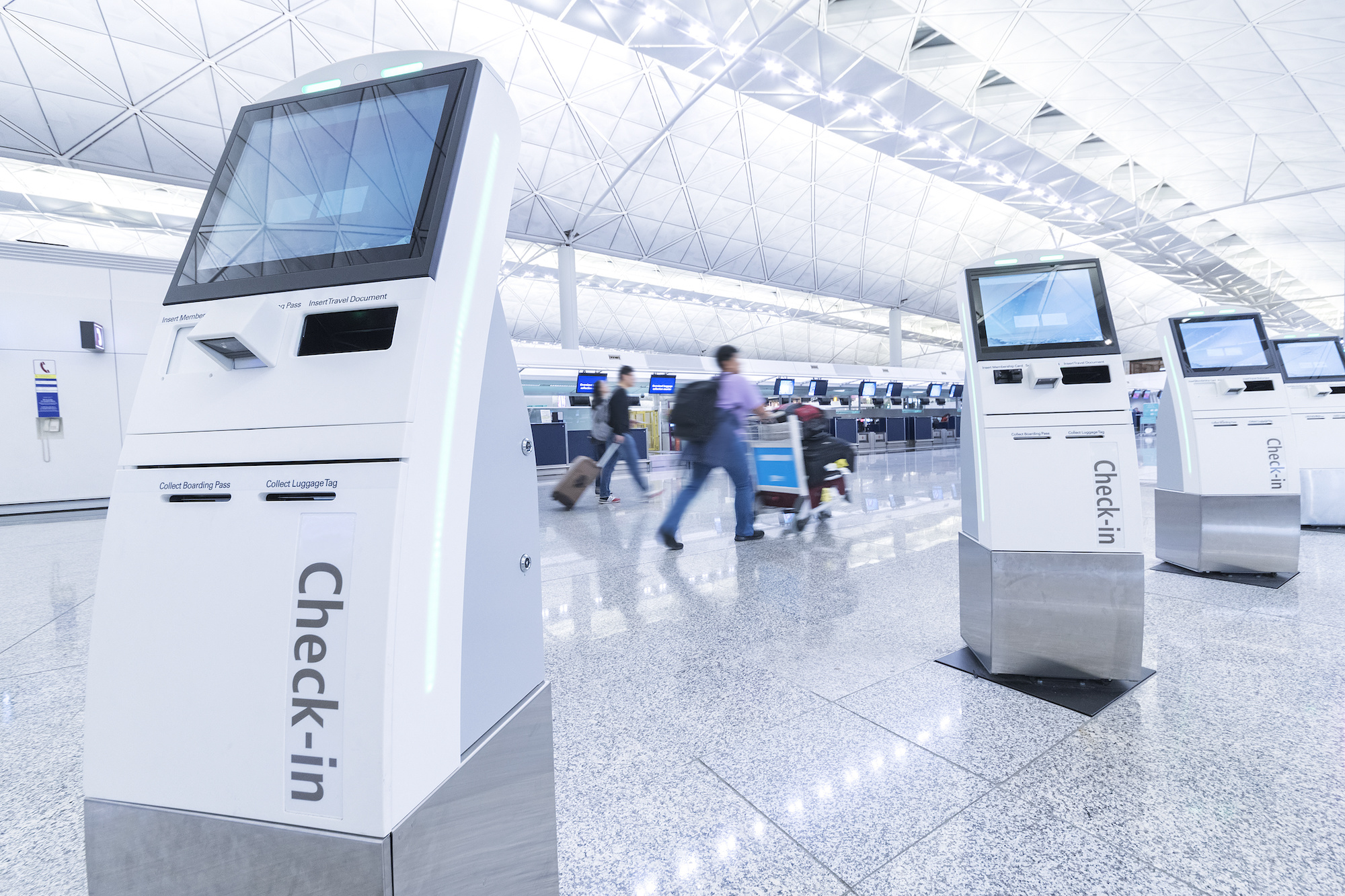 Self check-in kiosks at airport