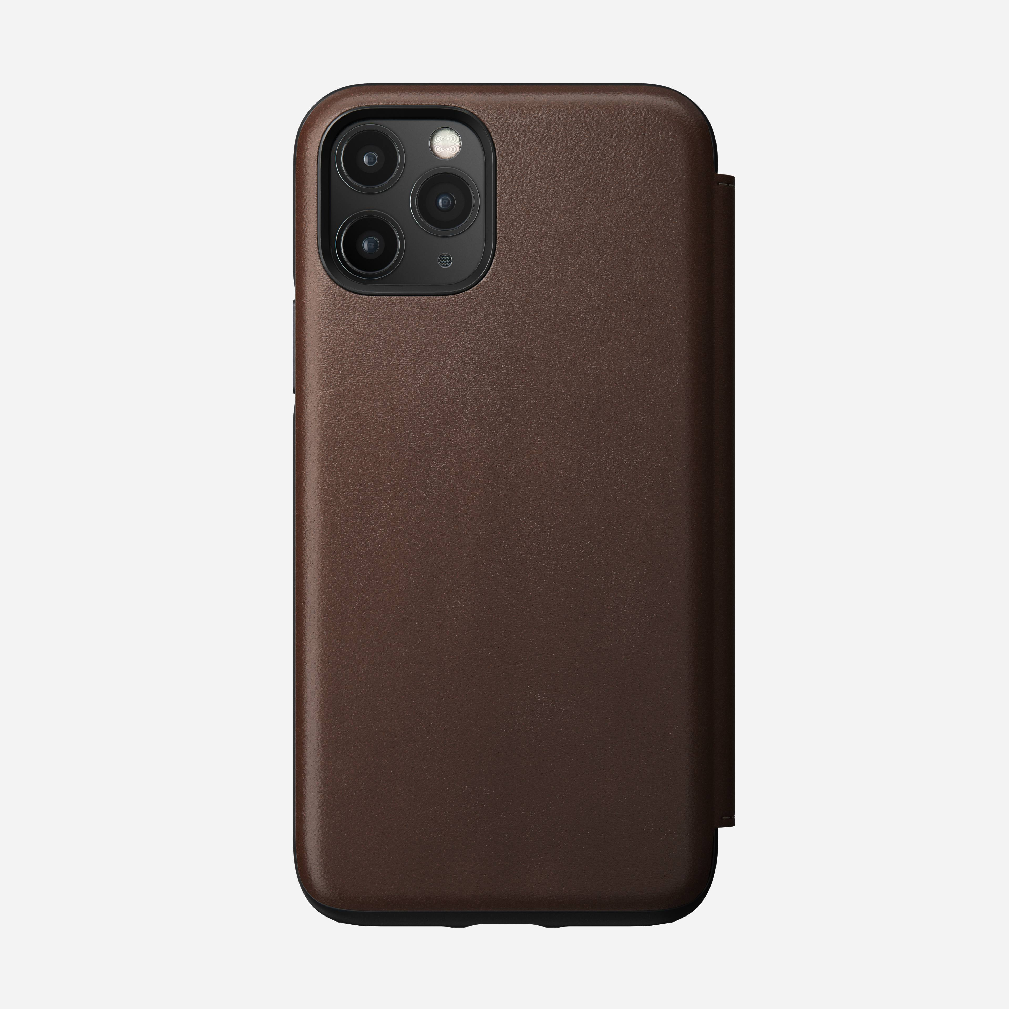 Rugged Leather Folio Case for iPhone 11 Pro, Brown