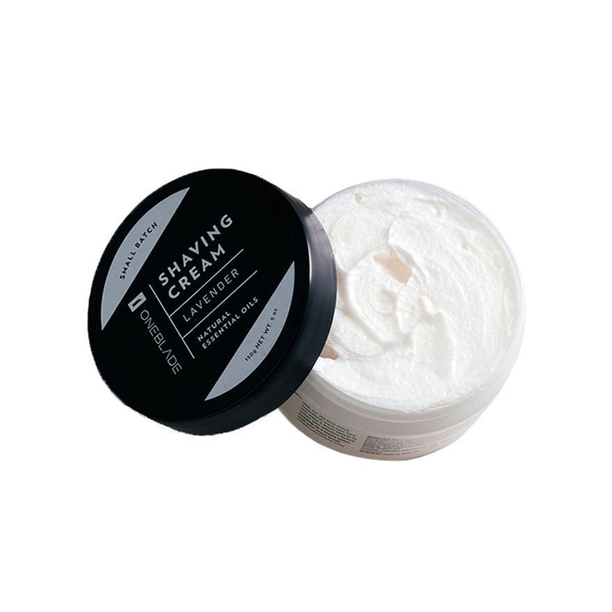 OneBlade shaving cream with lid off