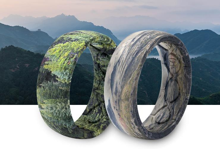 Adventure themed Groove silicone rings