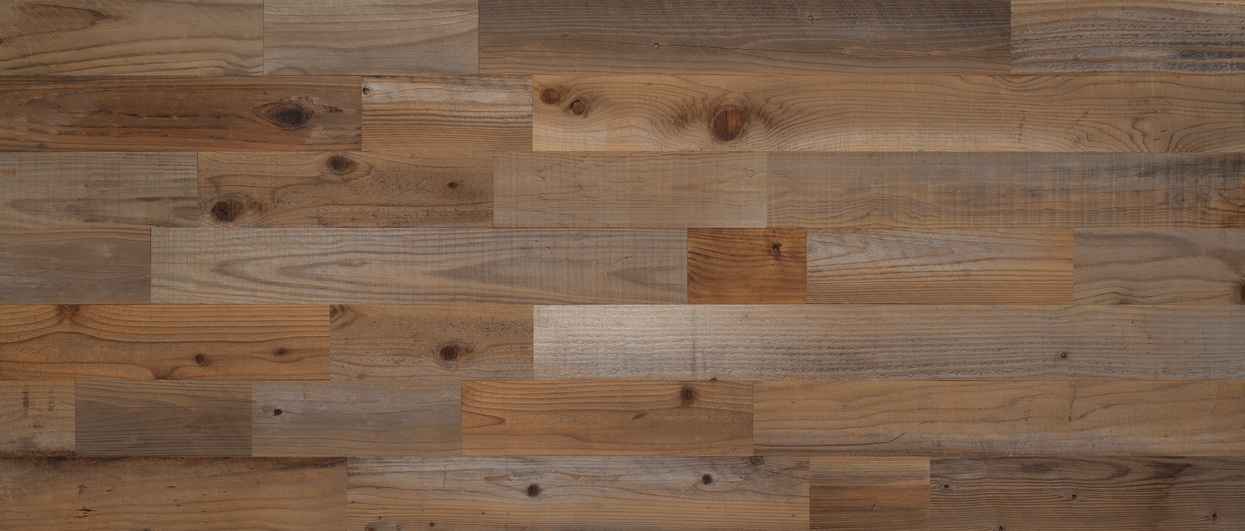 Stikwood Reclaimed Sierra Silver material explorer | real reclaimed redwood and cedar peel and stick wood wall and ceiling planks with brown, red, silver, gray and gold colors.